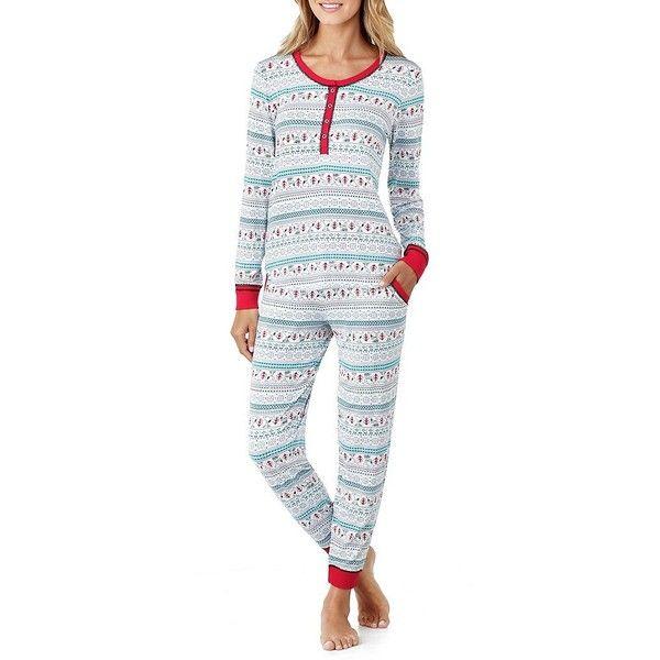 Peanuts Snoopy Fair Isle Long John Pajamas ($58) ❤ liked on ...