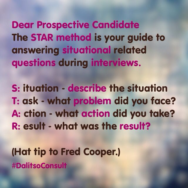 Dear Prospective candidate The STAR method is your guide to