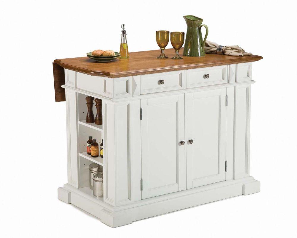 Meuble Pour Ilot Cuisine Îlot de cuisine blanc pur à abattant, fini chêne vieilli