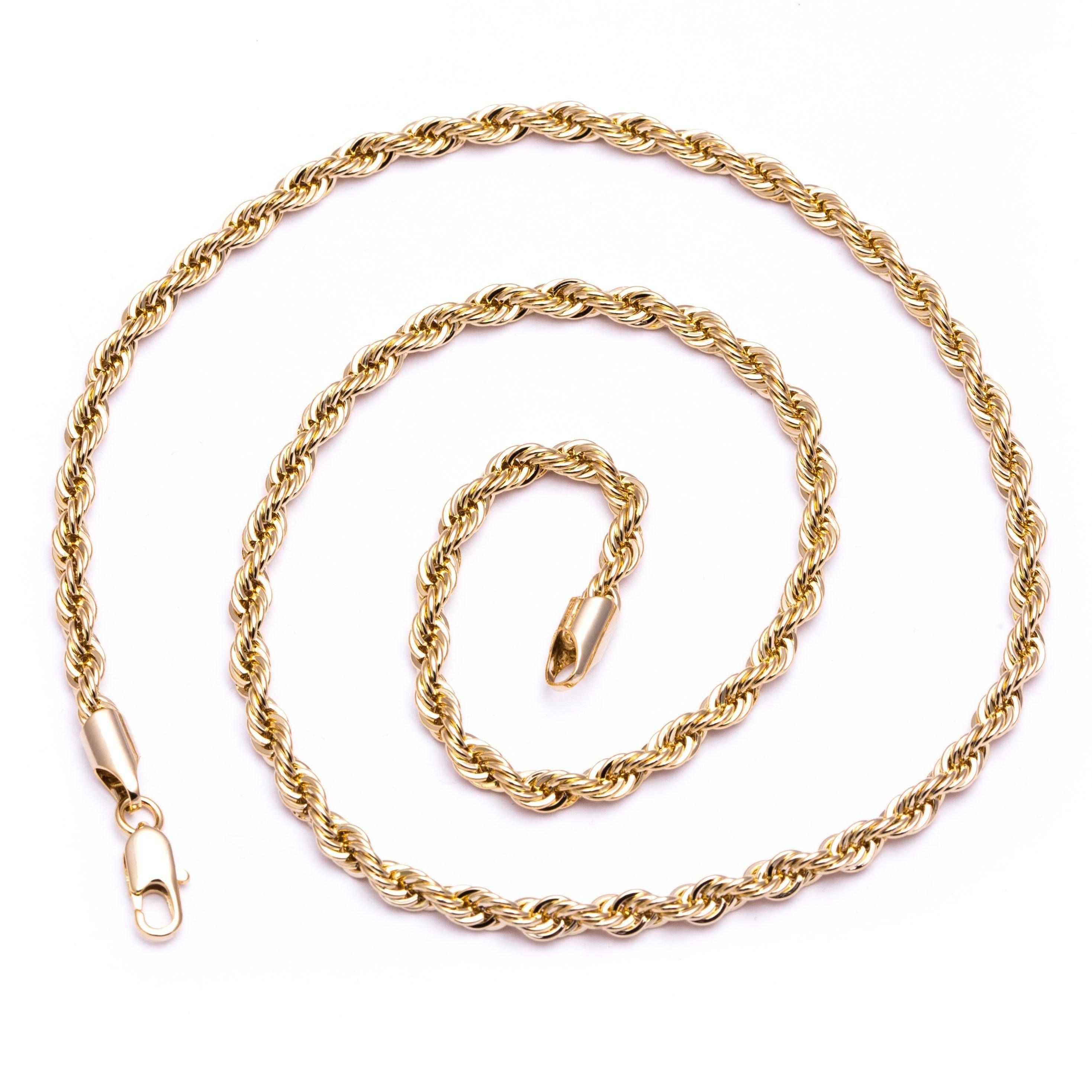 Menus luxury k gold plated mm bling solid diamondcut rope chain
