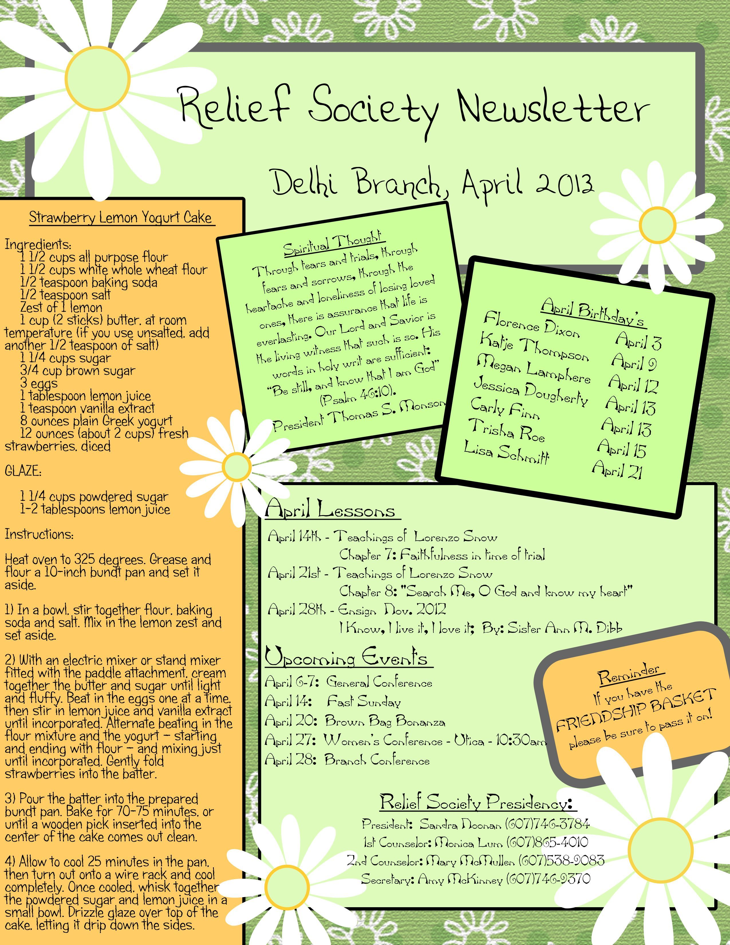 April Newsletter for Relief Society Relief society, Lds