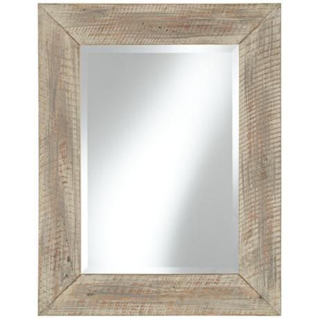 Distressed Wood 35 1 2 Quot High Whitewashed Wall Mirror 159