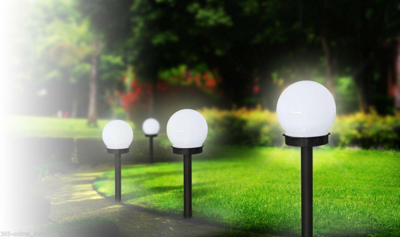 Large White Globe Solar Powered Garden Lights Stake Post Lamp Modern Ball Round Ebay Solar Powered Garden Lights Solar Post Lights Post Lights