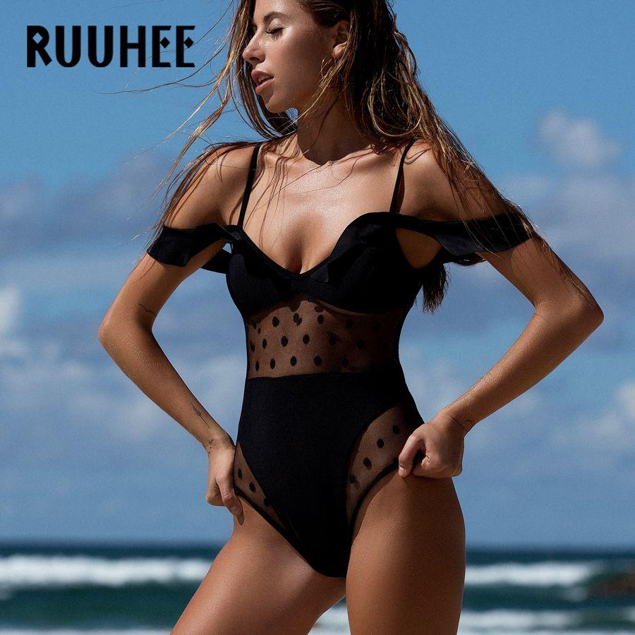 e93cef472a760 $24.76 - Cool RUUHEE Swimwear Women One Piece Swimsuit 2018 Bodysuit Sexy Mesh  Bathing Suit Swimming Suit Monokini Maillot De Bain Bikini - Buy it Now!