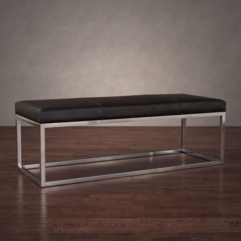 manhattan black and stainless steel modern leather bench seat home  - manhattan black and stainless steel modern leather bench seat home decorlounge