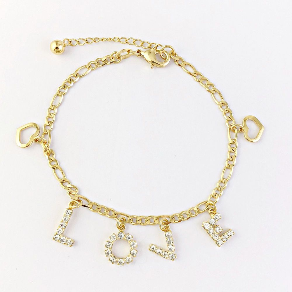 K gold filled charm bracelet love rhinestone heart women