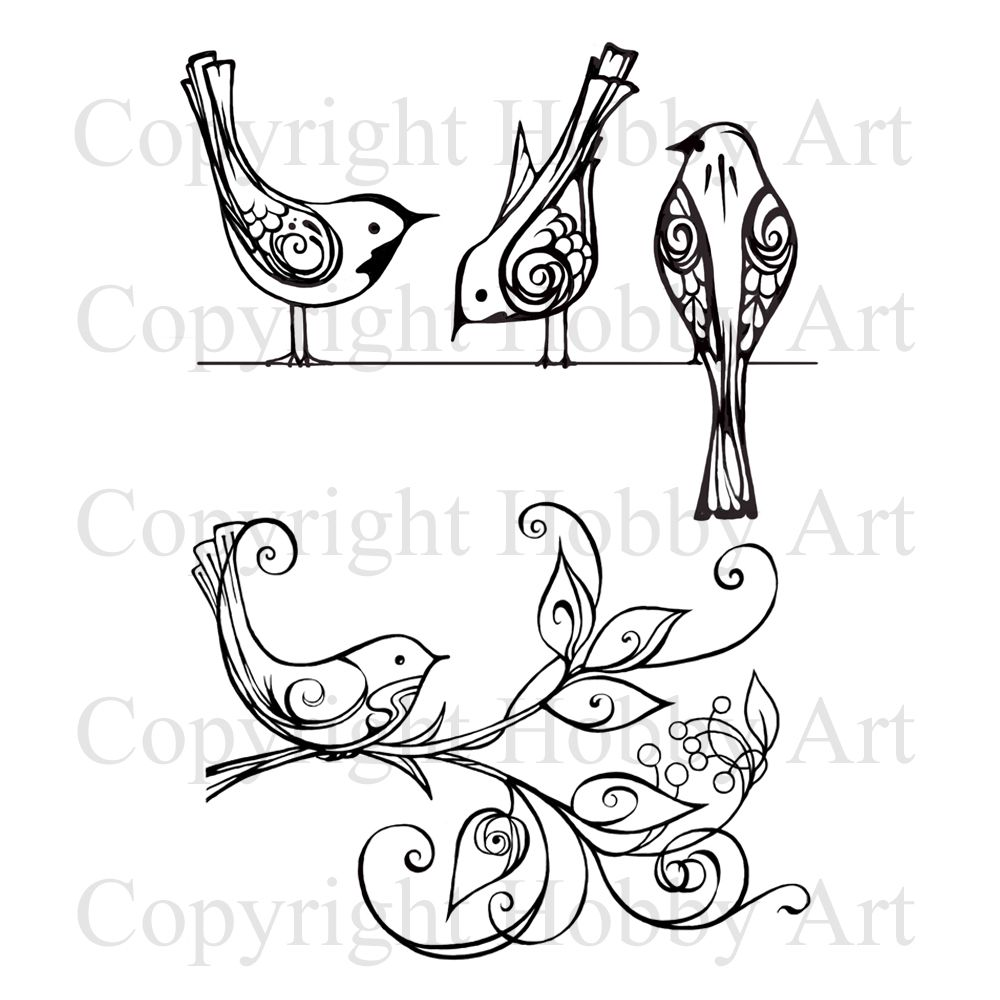 This is the gorgeous new Birds on Wire & Plant set