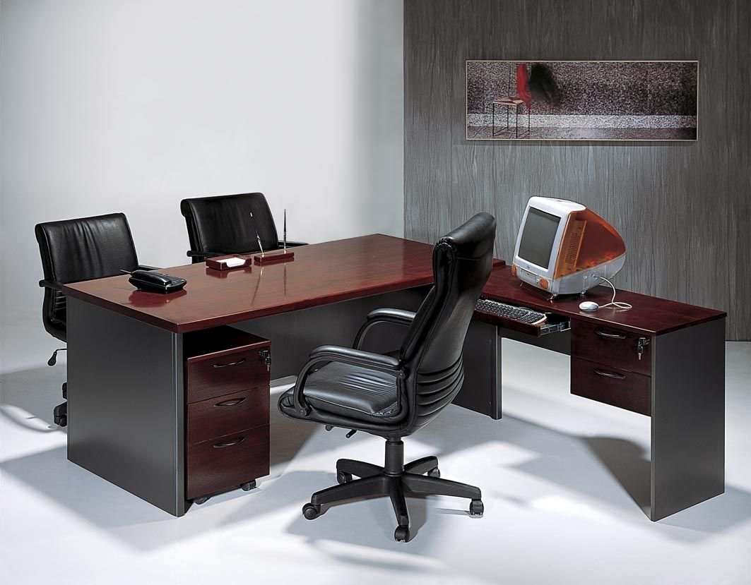 Modern Wood Office Furniture stylish design ideas reclaimed wood office furniture plain reclaimed wood desks and home office furntiure Small Modern Office Decorating With Dark Wood Office Table Design Ideas And Modern Chairs