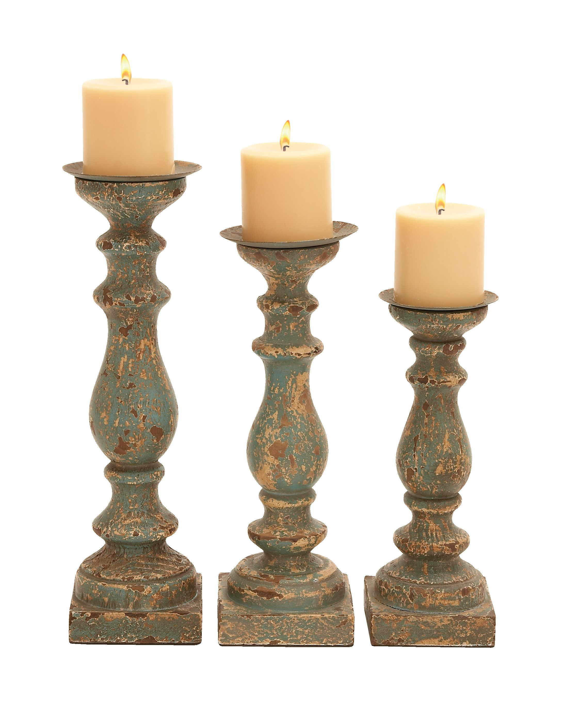 Wooden Candle Holder In Calming Green Finish  Set Of