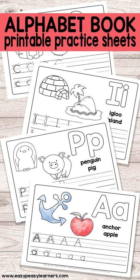 Free Printable Alphabet Book for Preschool and Kindergarten. Pinned ...