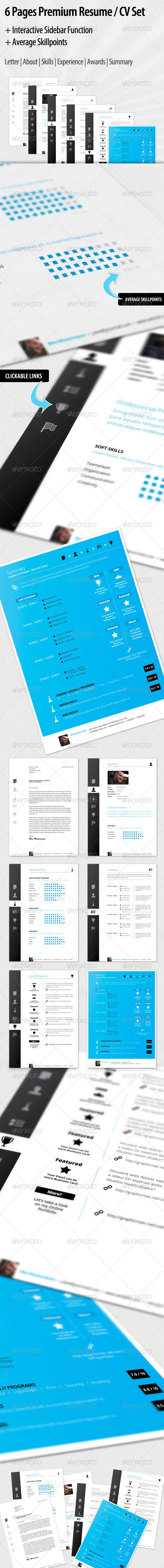 interactive clickable premium resume cv set curriculum resume interactive clickable premium resume cv set template indesign indd here