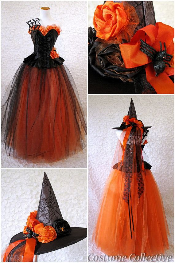 2f7fd06cb4 Spiderweb Witch Costume - Black & Orange Corset Dress with Tulle Skirt,  Spiderwebs, Gloves and Hat