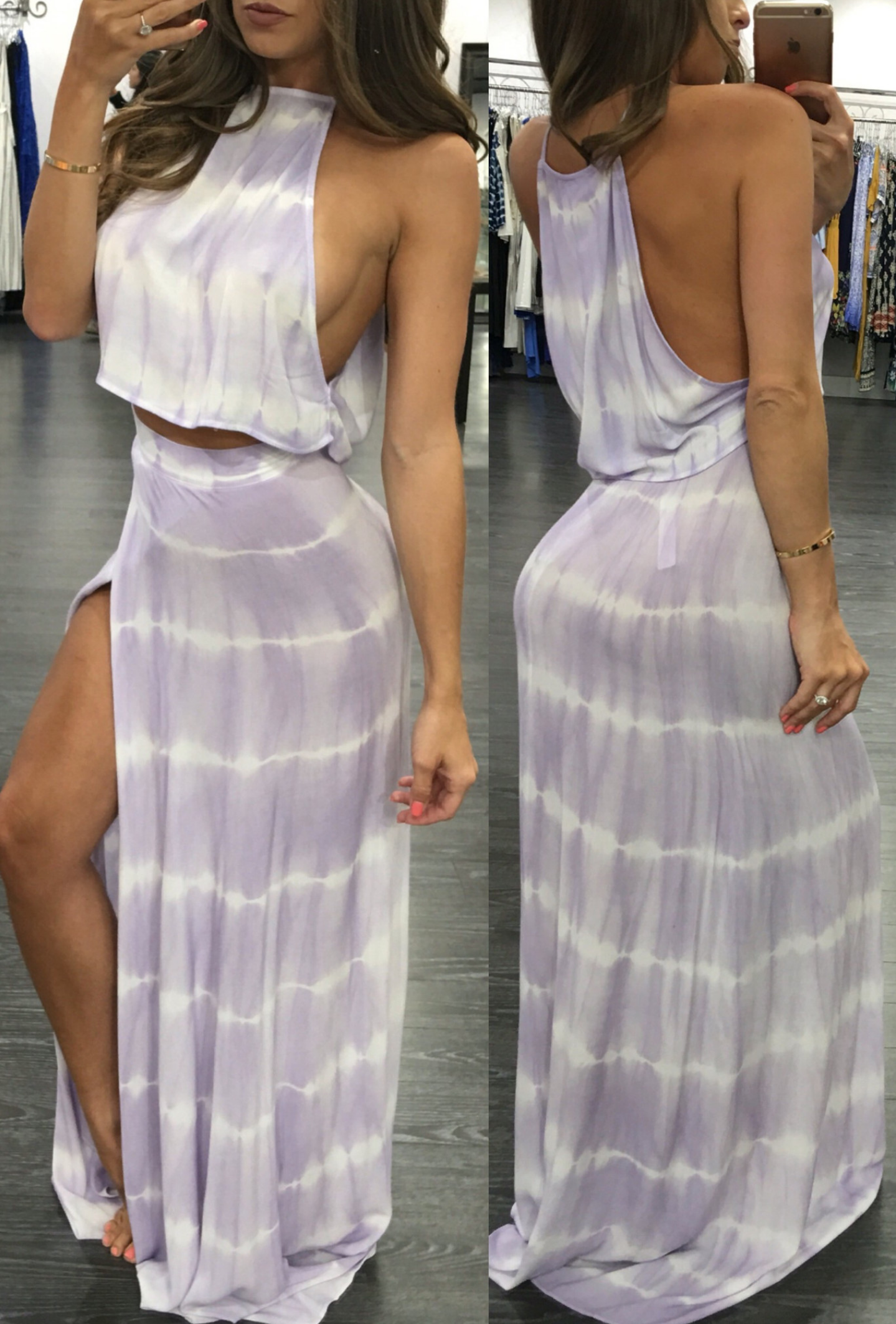 "Adorable ""Sophie"" Maxi Set includes lavender crop top and high waisted high slit maxi skirt <3 www.RedSplashBoutique.com"