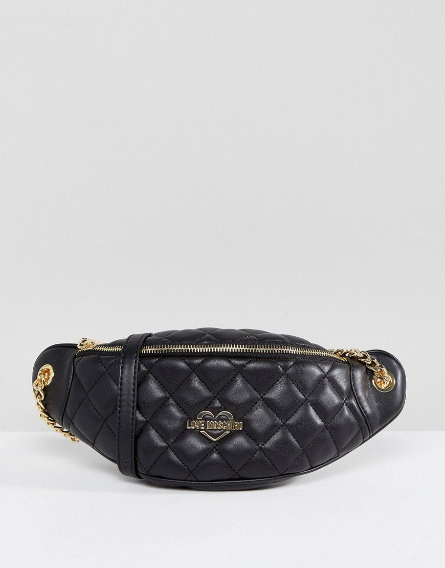7b017de015d LOVE MOSCHINO QUILTED FANNY PACK - BLACK. #lovemoschino #bags #belt bags  #silk #suede #