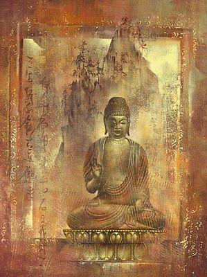 ying wu contemplation ii bouddha image termin 60x80 tableau mural feng shui orange brulee. Black Bedroom Furniture Sets. Home Design Ideas