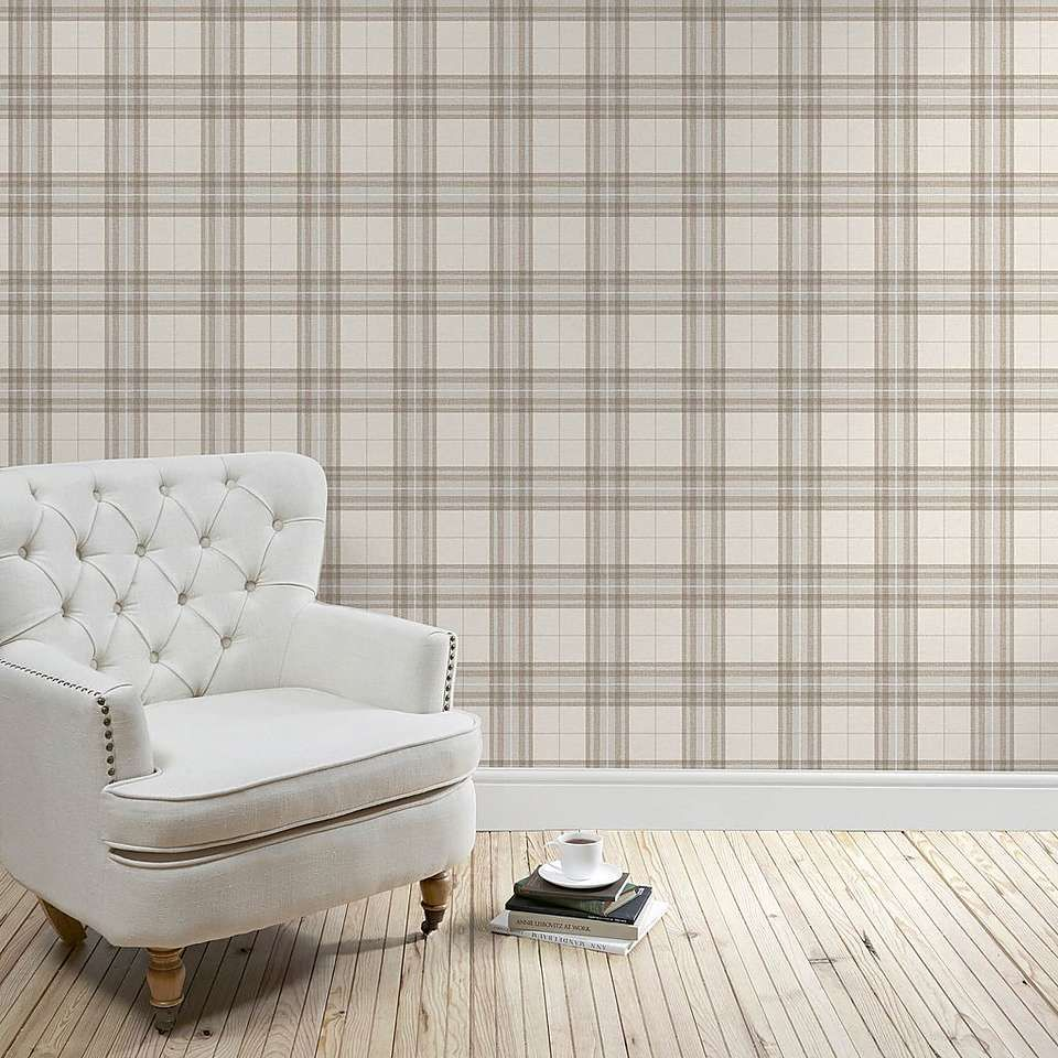 Natural Cabin Check Wallpaper Living Room On A Budget Ideal Home Wallpaper