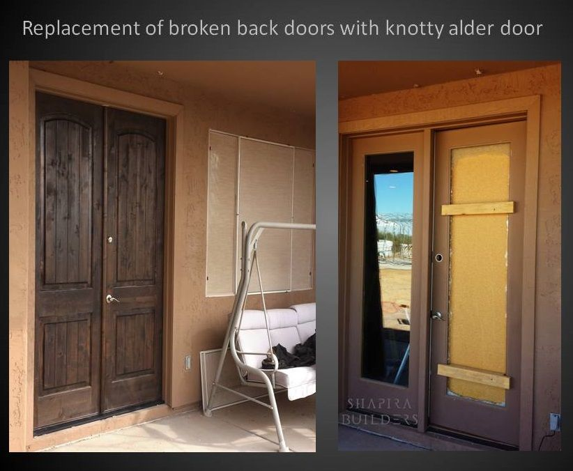 Replacing Broken Back Doors With Stained Knotty Alder