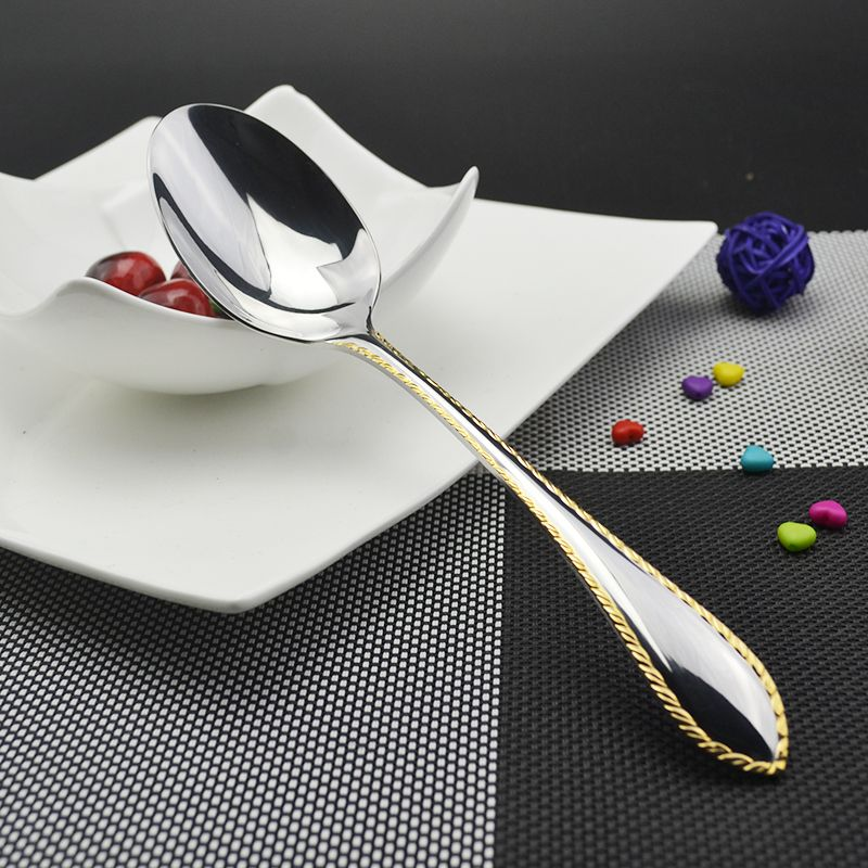 1Pcs Western Food Stainless Steel Dinner Serving Spoon Trimming Gold Spoons  Dinnerware Kitchen Accessories SJ