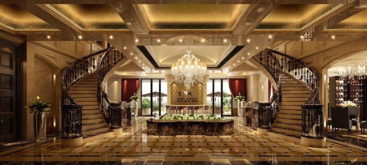 Comfortable luxury and elegant hotel lobby design with for Elegant hotel decor