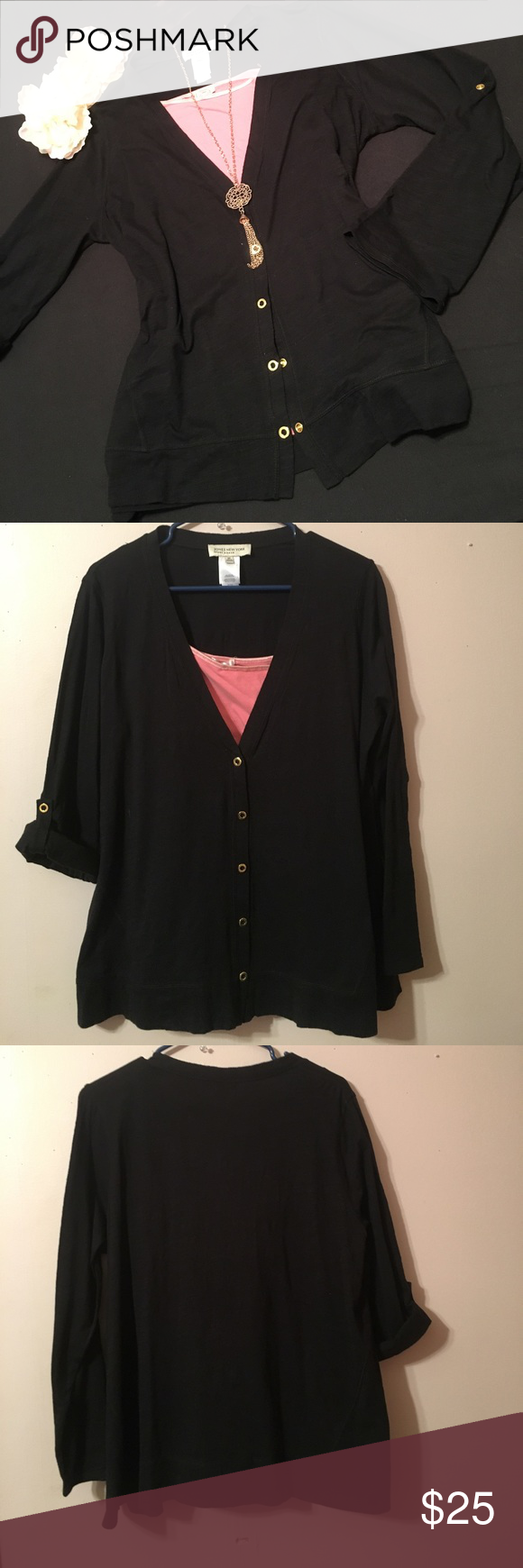 ❤️Just In NWOT❤ black cardigan w/ gold buttons | Size 10