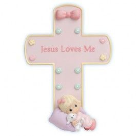 Jesus Loves Me Cross With Stand - Girl