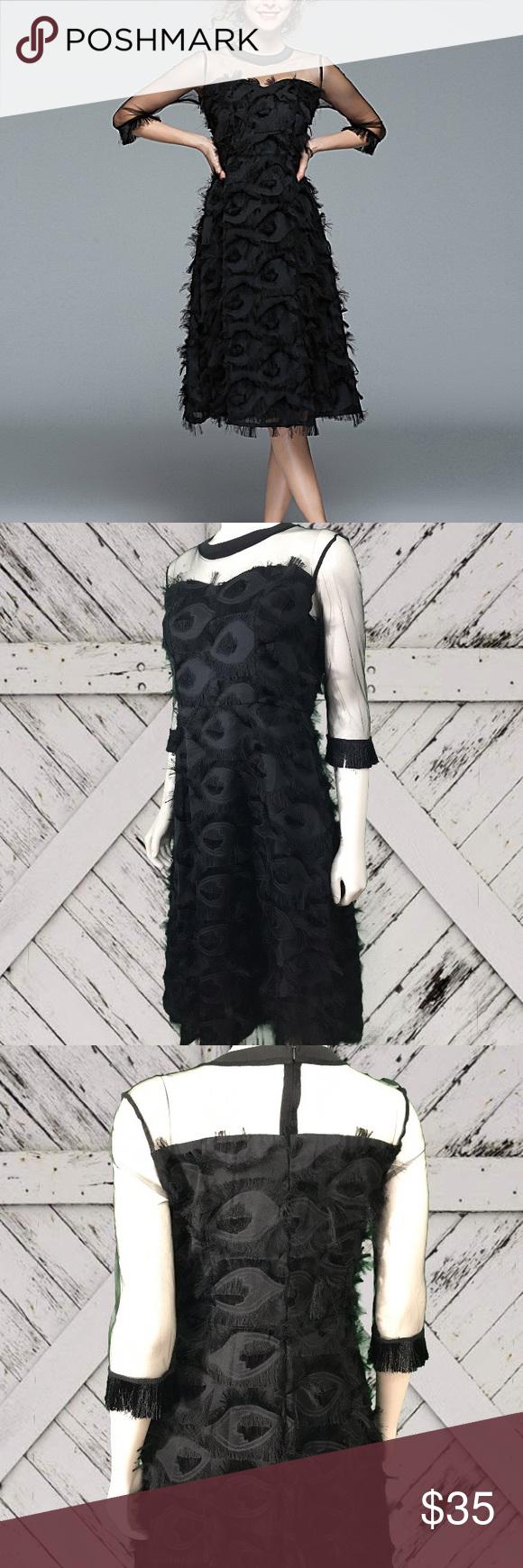 5fe65e17b0d2c Coeur de Vague Feather Midi Dress Brand new with tags Beautiful dress!!  Sheer 3