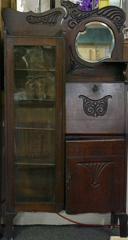 Antique Secretary Desk - similar style to the one that was kept behind her  recliner chair that she always sat in. - Art Nouveau Desk & Glass Secretary Cabinet Circa 1900 Antiques
