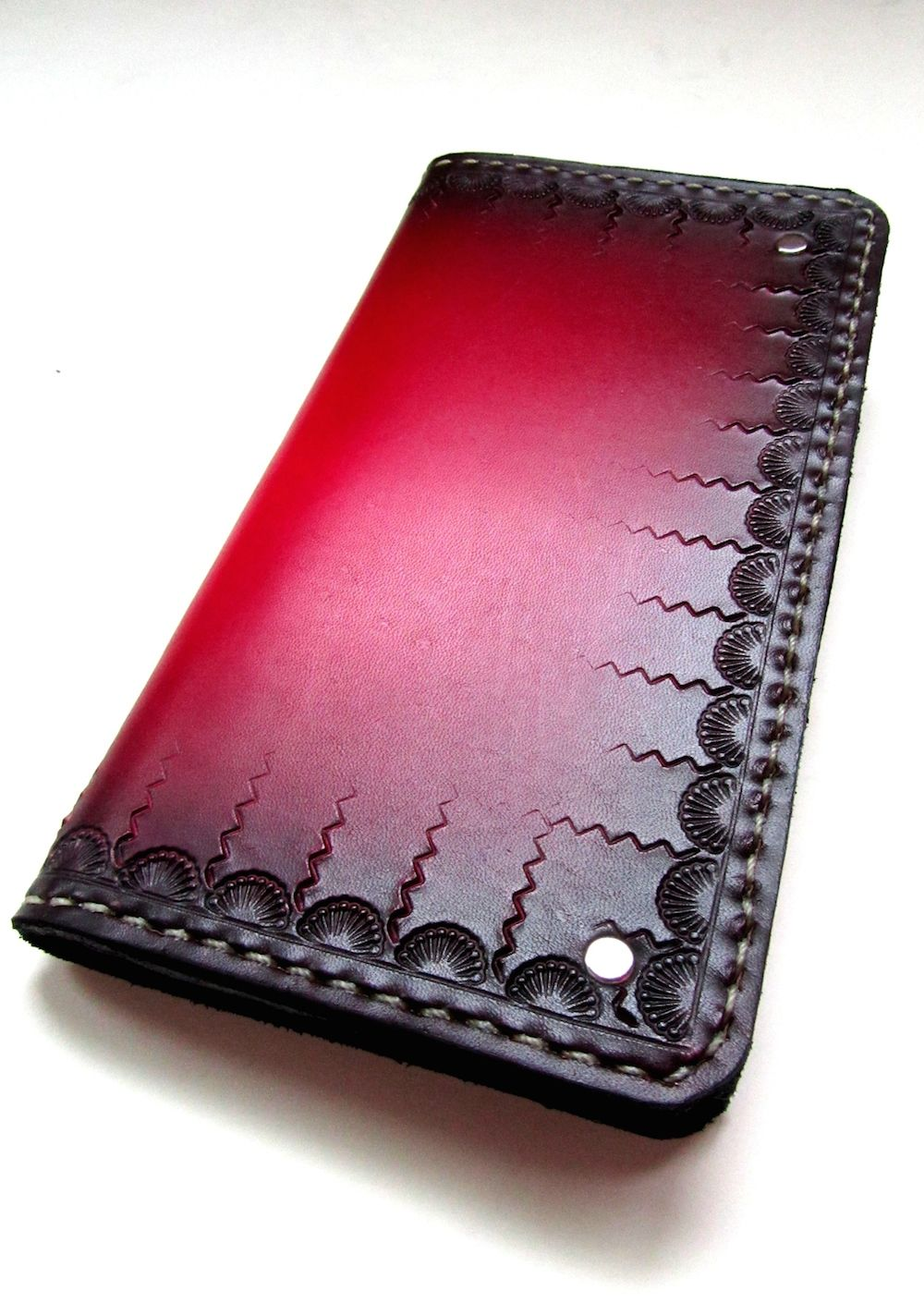 Mens Red Hand Tooled Leather Wallet. This is definitely a one of a kind wallet.