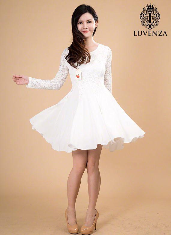 92e2f1dfddd7 White Lace Chiffon Dress   White Fit and Flare Dress   Long Sleeve Lace  Dress   Lace Prom Dress   La
