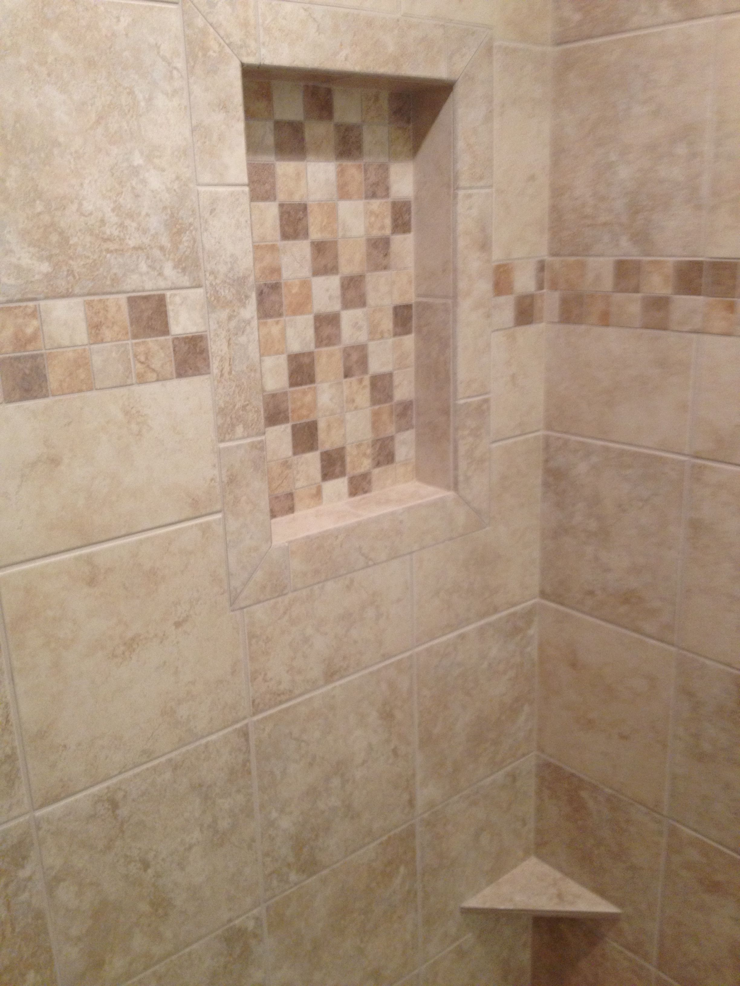 Checkered Pattern, Single Shelf, Corner Foot Rest, Custom Shower Design