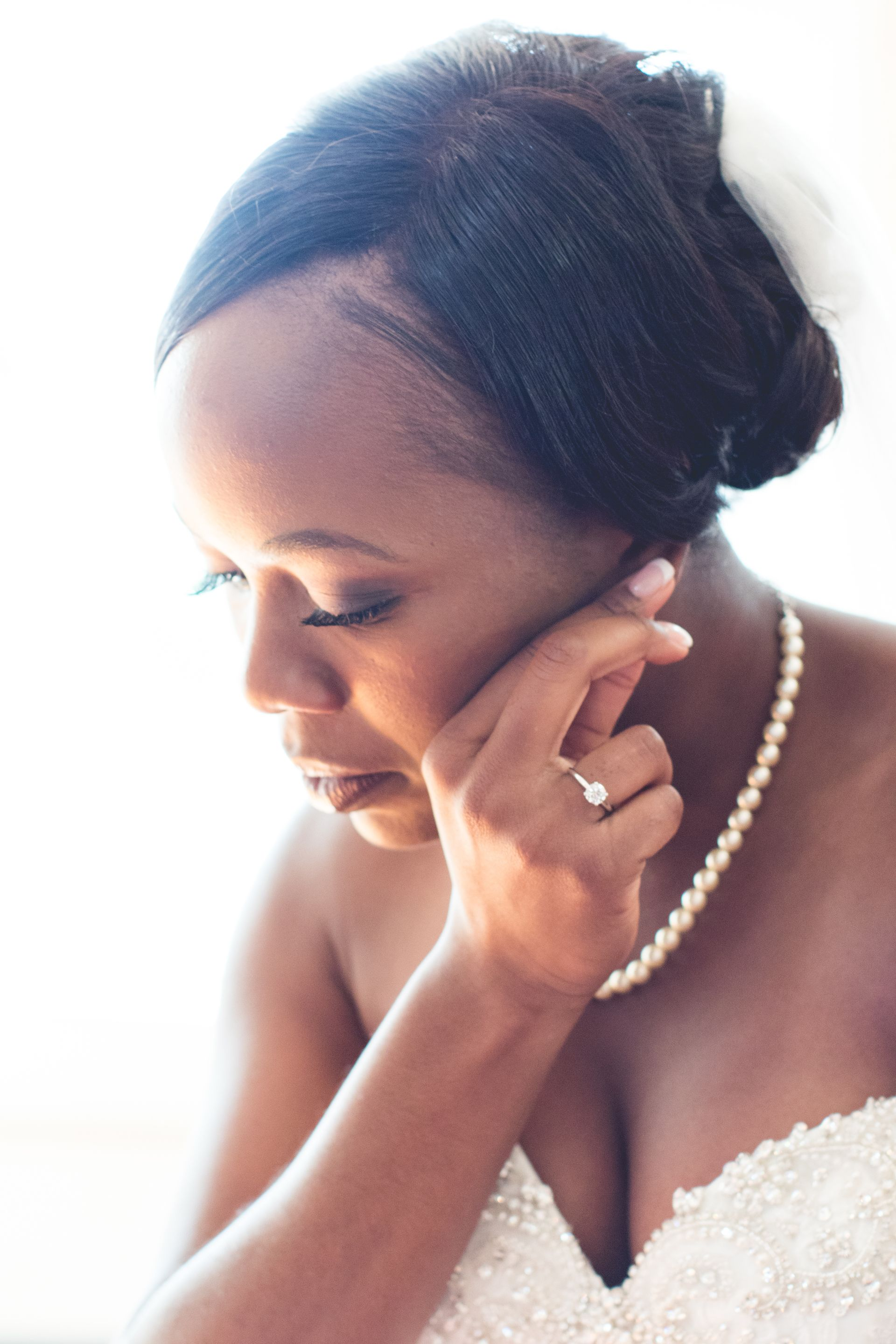 Classic fall wedding getting ready photos pearls brides of color