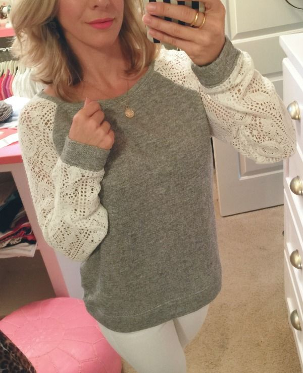 Summer Fashion - Hinge Lace Sleeve Sweatshirt | HWH // FASHION ...