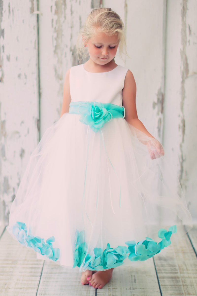 b5a206c9e57 Satin   Tulle Flower Girls Dress w. Organza Sash   Petals in Choice of Color