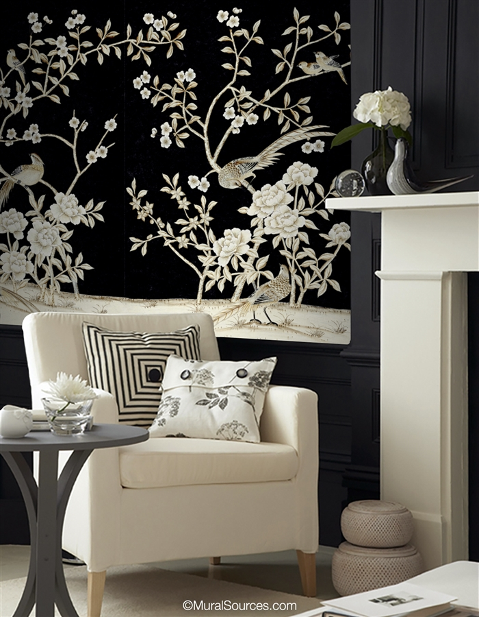 Maysong Black Lacquer Chinoiserie Mural Wallpaper