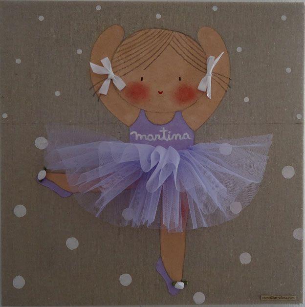 Cuadro infantil personalizado bailarina azul | dibujo | Pinterest ...