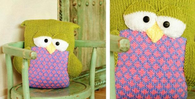 Fun Knitted Sleepy Owl Pillow The Knitting Space Knitting