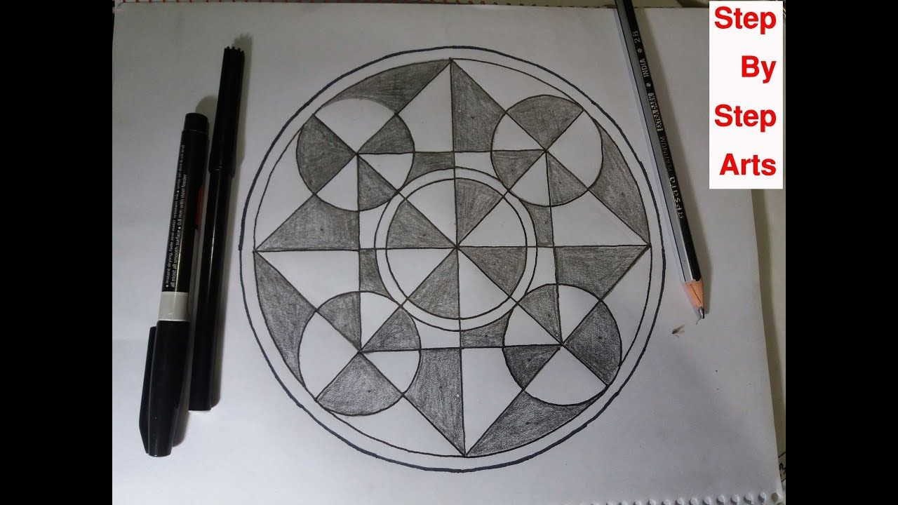 How to drawing circles geometrical shapes step by step