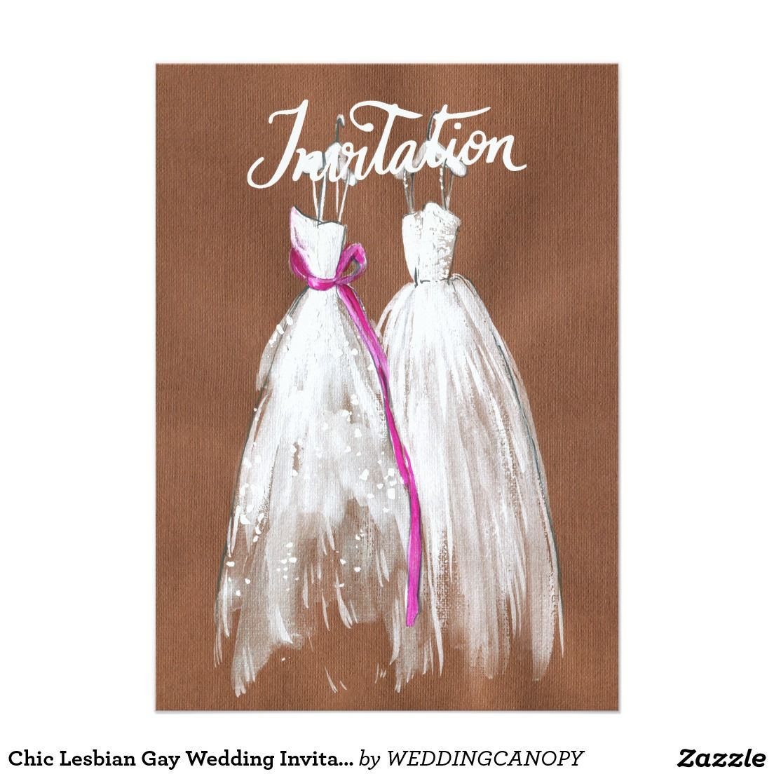 Chic Lesbian Gay Wedding Invitation Two Brides Lesbian And Weddings