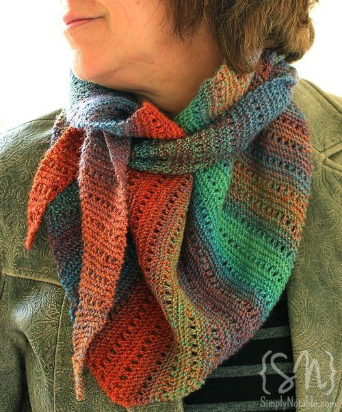 gorgeous scarf (free pattern on Ravelry) and she has notes on how she dyed/sp...