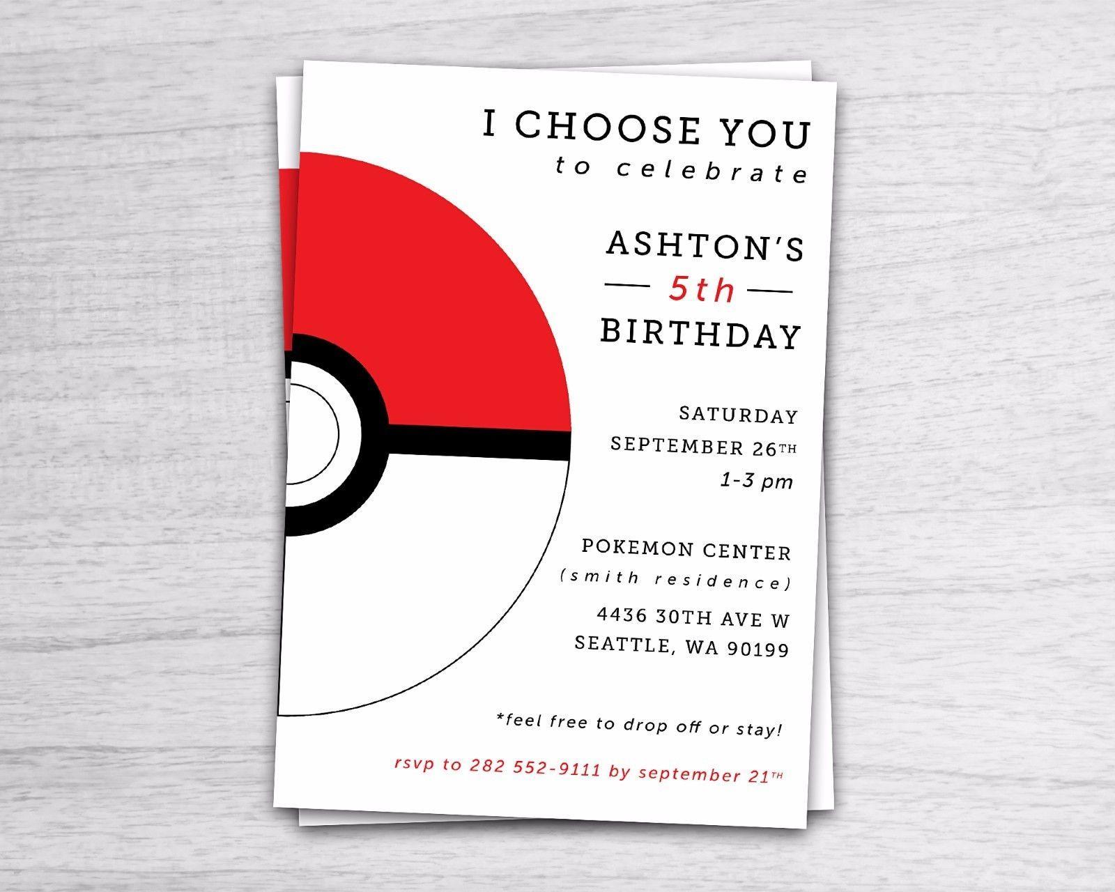 Pokemon Invitation Pokemon Go Birthday Invite   eBay   Design ...