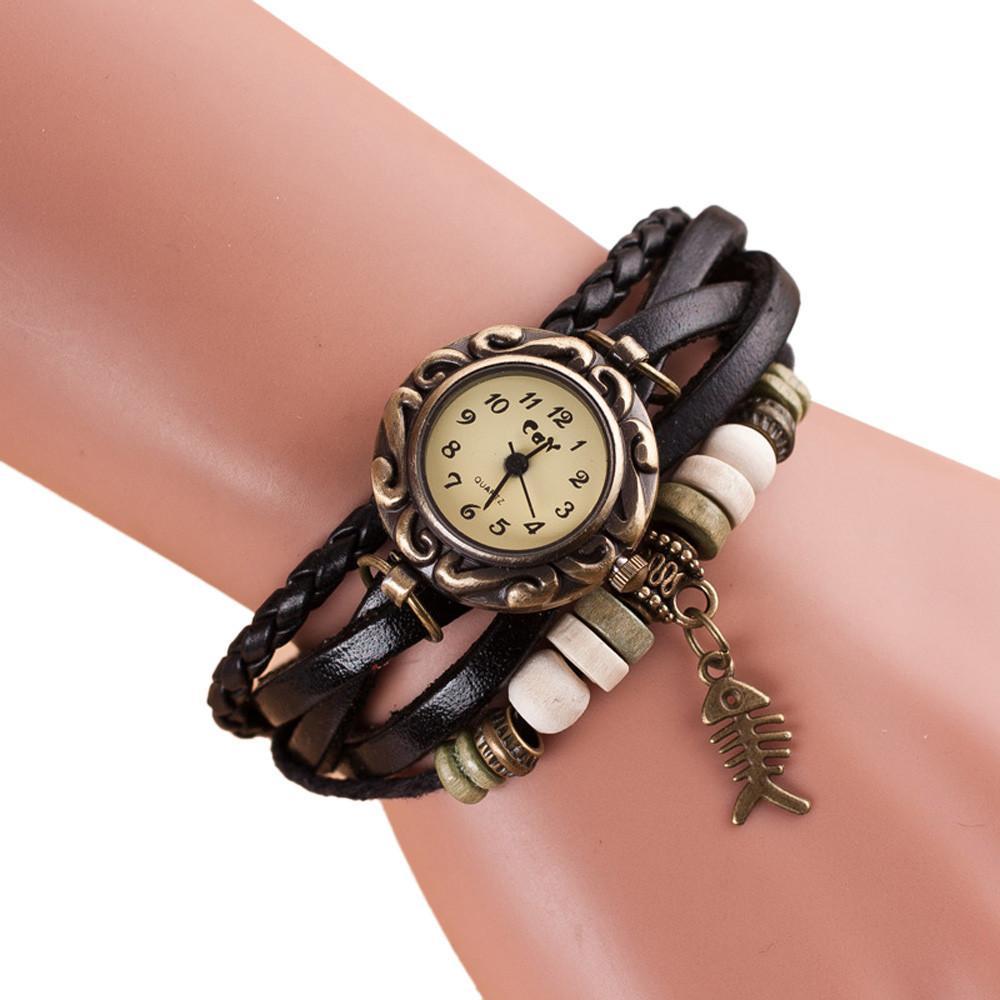 Fashion weave around leather fishbone bracelet lady woman wrist