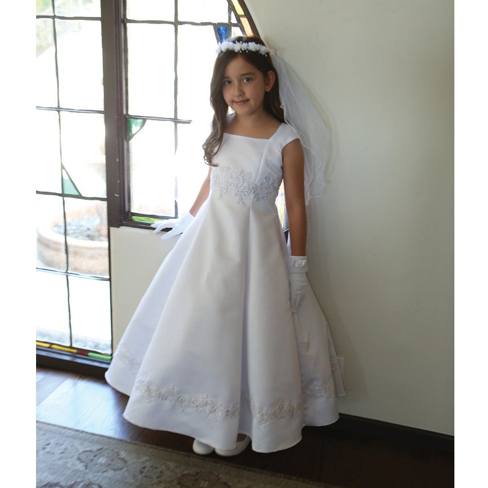 Amazon.com: Angels Garment Big Girls White Embroidered Appliques ...