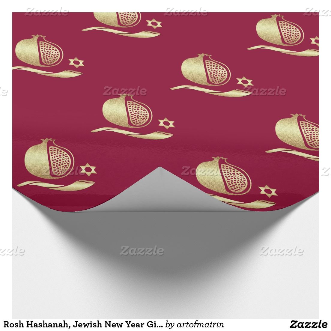 Rosh Hashanah, Jewish New Year Gift Wrapping Paper ...