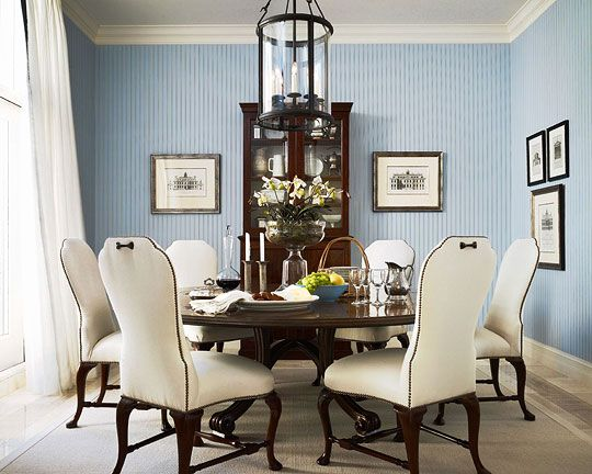 Striped Wallpaper From Ralph Lauren Home Provides A Handsome Background In This Dining Room Shapely Queen Anne Chairs Are Upholstered Ivory Linen With