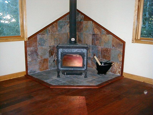 Love Slate Tile Wood Stove Surround by kmswoodworks - Slate Tile Wood Stove Surround Wood Stove Surround, Tile Wood