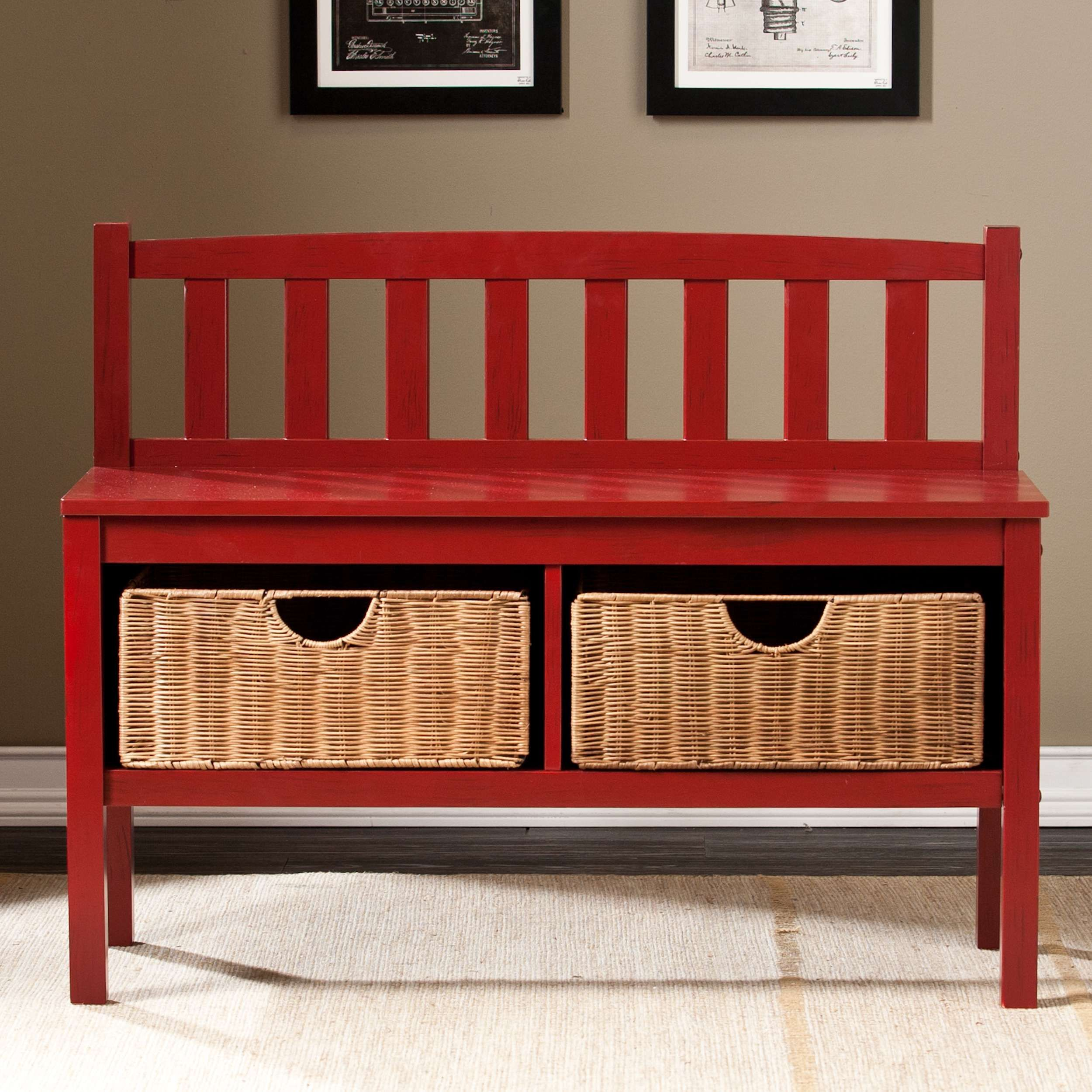 Lowest price on Southern Enterprises Red Bench with Storage Baskets