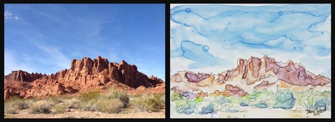 'Valley of Fire' - 5 x 7 mixed media sketch on YUPO paper.