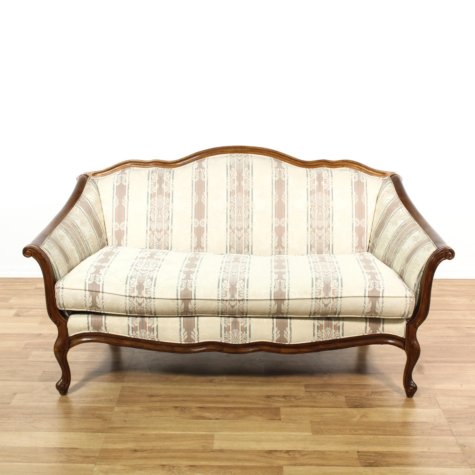 This French Provincial Loveseat Is Upholstered In A Off White Cream And  Light Red Striped Damask Print Fabric. This Elegant Sofa Has Carved Glossy  Cherry ...