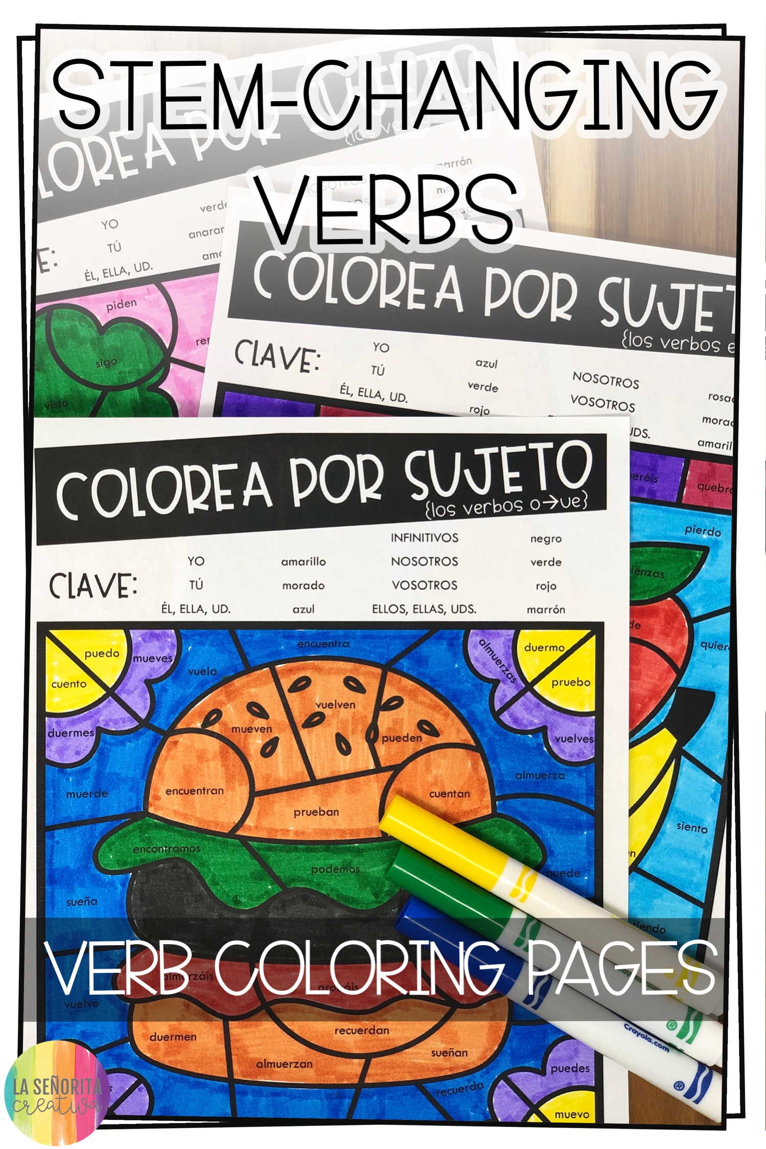 Love This Fun Way To Introduce Practice Or Review Verb Conjugations For Stem Changing Verbs In The Present Tense Verbs Color Activities Possessive Adjectives [ 2249 x 1499 Pixel ]