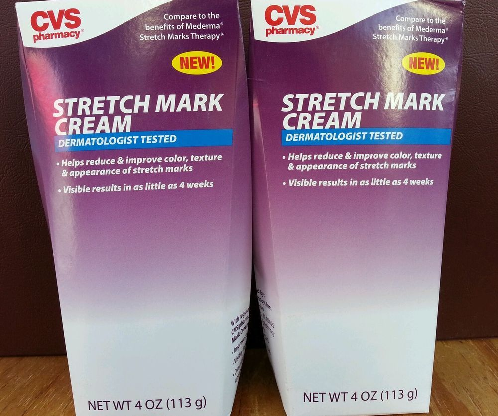 Lot Of 2 Cvs Stretch Mark Cream 4oz Dermatologist Tested Compared To Mederma Stretch Mark Cream Dermatologist